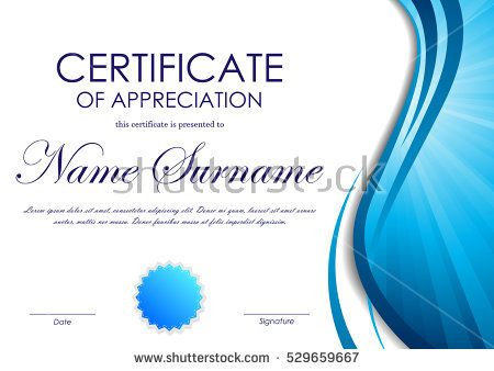 Certificate Of Appreciation Template With Blue Dynamic Wavy Vortex