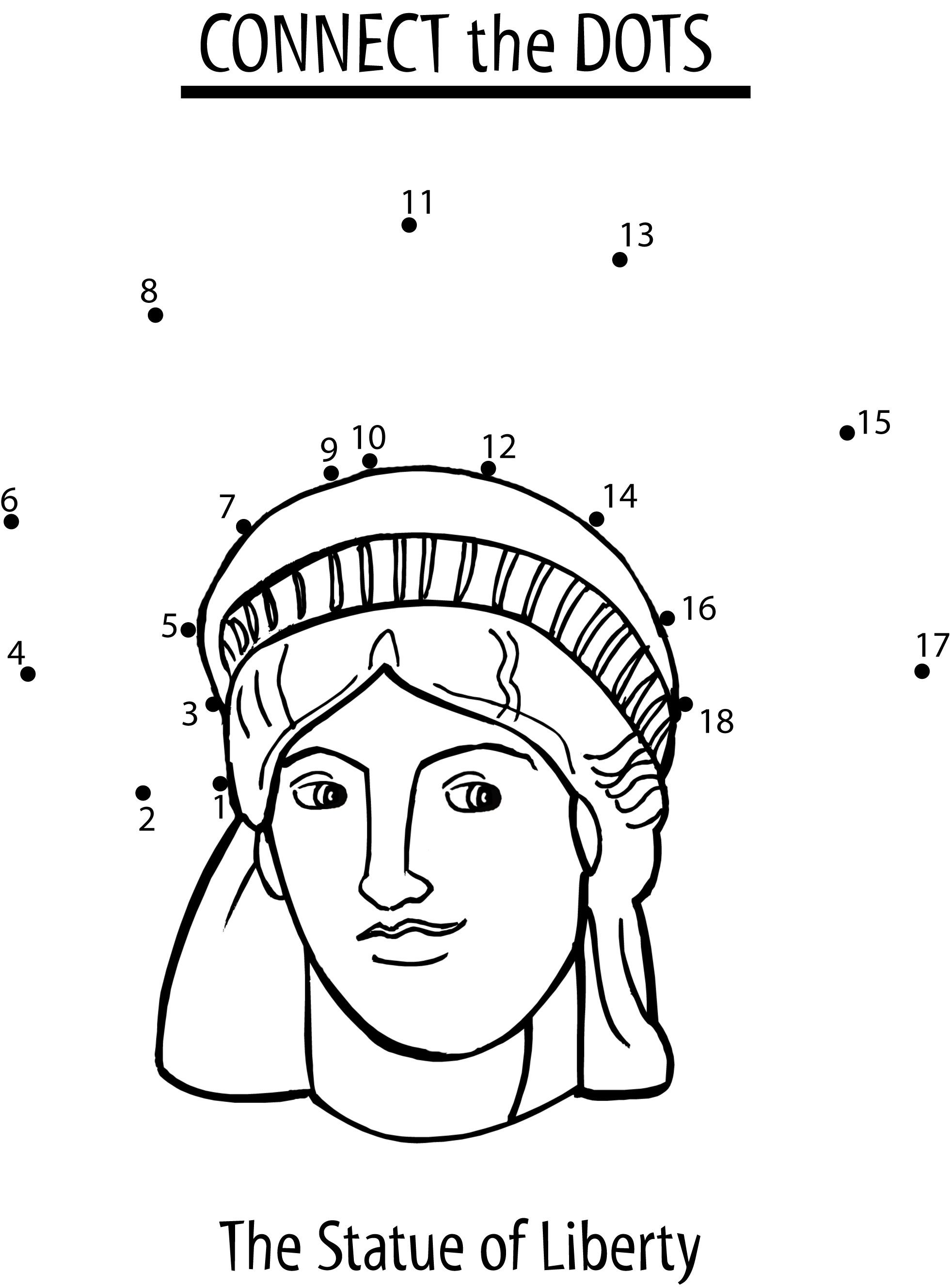 Coloring pages for dots for 4 of july - Statue Of Liberty Dot To Dot
