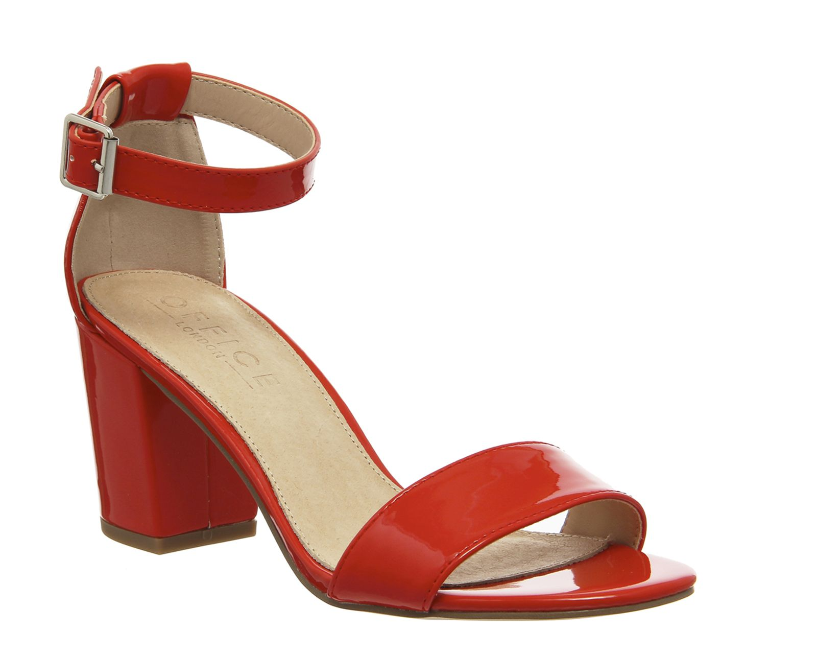 Office Watermelon Block Womens Sandals Red Patent