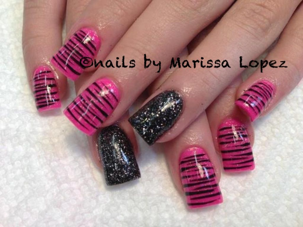 Pink zebra nails nails pinterest - Manicure Acrylic Nails Pink Zebrabossacrylic