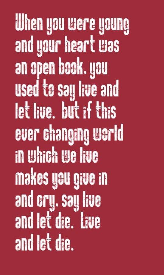 Lyric let it be the beatles lyrics : Paul McCartney & the Wings - Live & Let Die - song lyrics, music ...