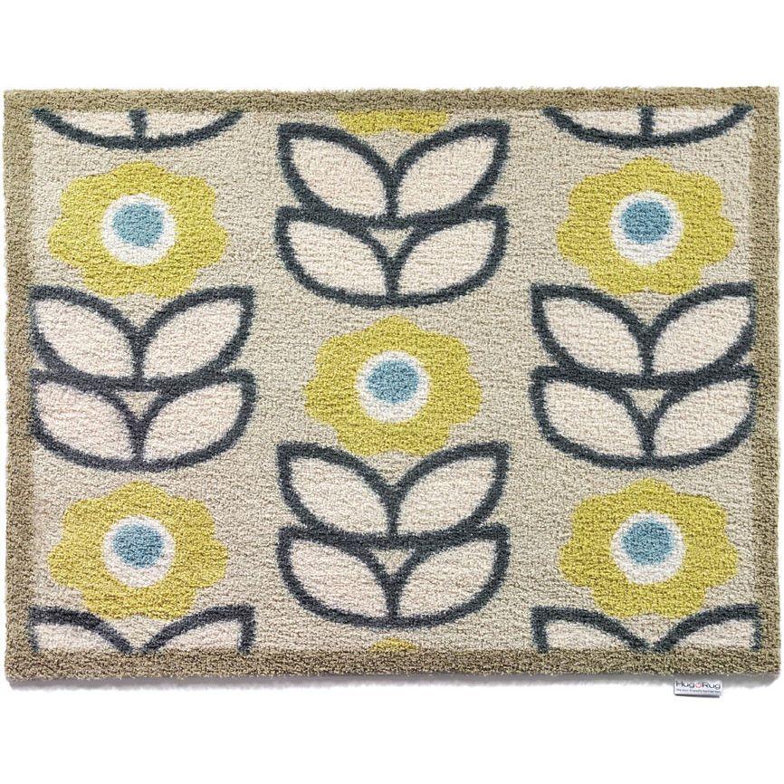 1960s Inspired Printed Rug A Lot Like Orla Kiely Washable Door Mats Flower Rug Door Mat