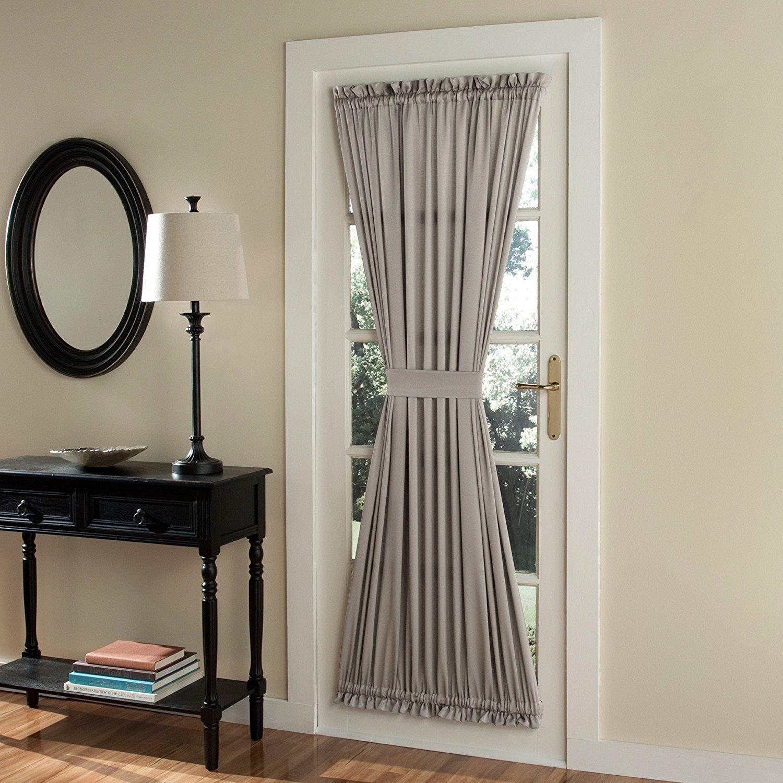72 Inch Stone Solid Color French Door Curtain Single Panel Door