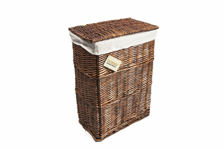 Wicker storage basket home storage baskets melbury rectangular wicker - Woodluv Medium Rectangular Laundry Linen Willow Wicker Basket With Lining Brown Amazon Co