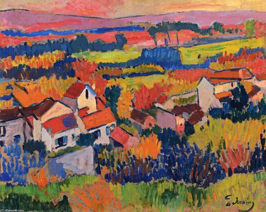 Landschaft in der Nähe von Chatouu0027, öl auf tafel von André Derain - schlafzimmer in arles