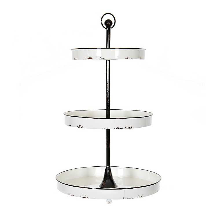 Black And White Round Metal 3 Tier Tray In 2020 Tiered Stand Tray Decor White Tray