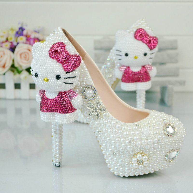 Women Diamond Rhinestone Pearl Pumps High Heels Shoes 2
