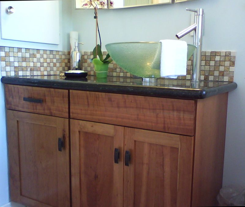 Bathroom Vanity Cherry Cabinet With Black Granite Top And Vessel