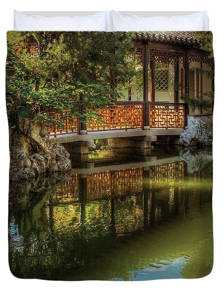 Orient   Bridge   The Chinese Garden Duvet Cover By Mike Savad