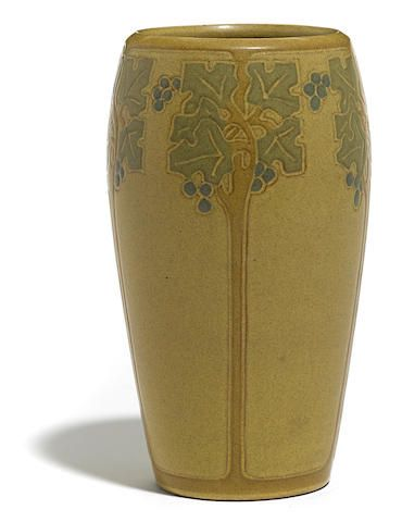 A Marblehead Pottery Glazed Earthenware Vase With Carved Stylized