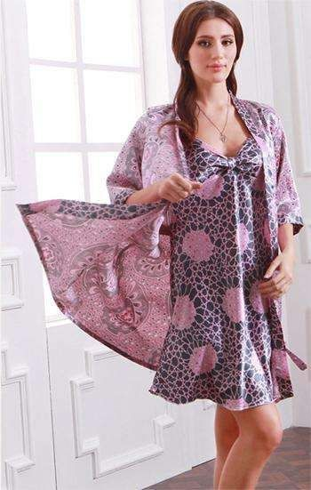 07750d185b Plus size ladies silk satin nightie with a bathrobe sexy floral sling  nightdress and robe casual