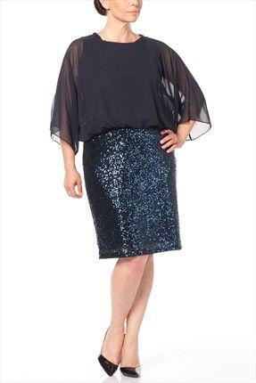 Buyuk Beden Lacivert Elbise 5846 Elbise Kiyafet Moda Stilleri