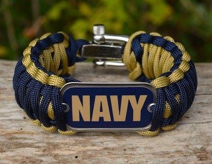 Checkered Survival Bracelet Blue Navy Outside Edge Red