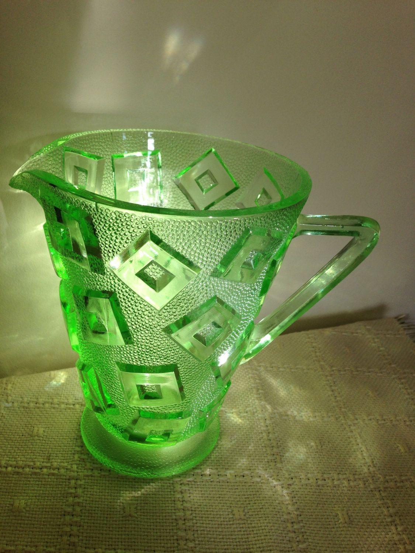Vintage art deco green glass jug uranium pitcherjugvase by pitcherjugvase by trevoranna on etsy reviewsmspy