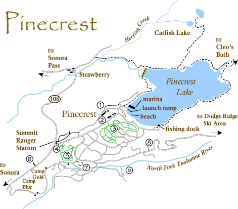 Map Of Pinecrest Ca Pinecrest Lake Pinecrest California Camping