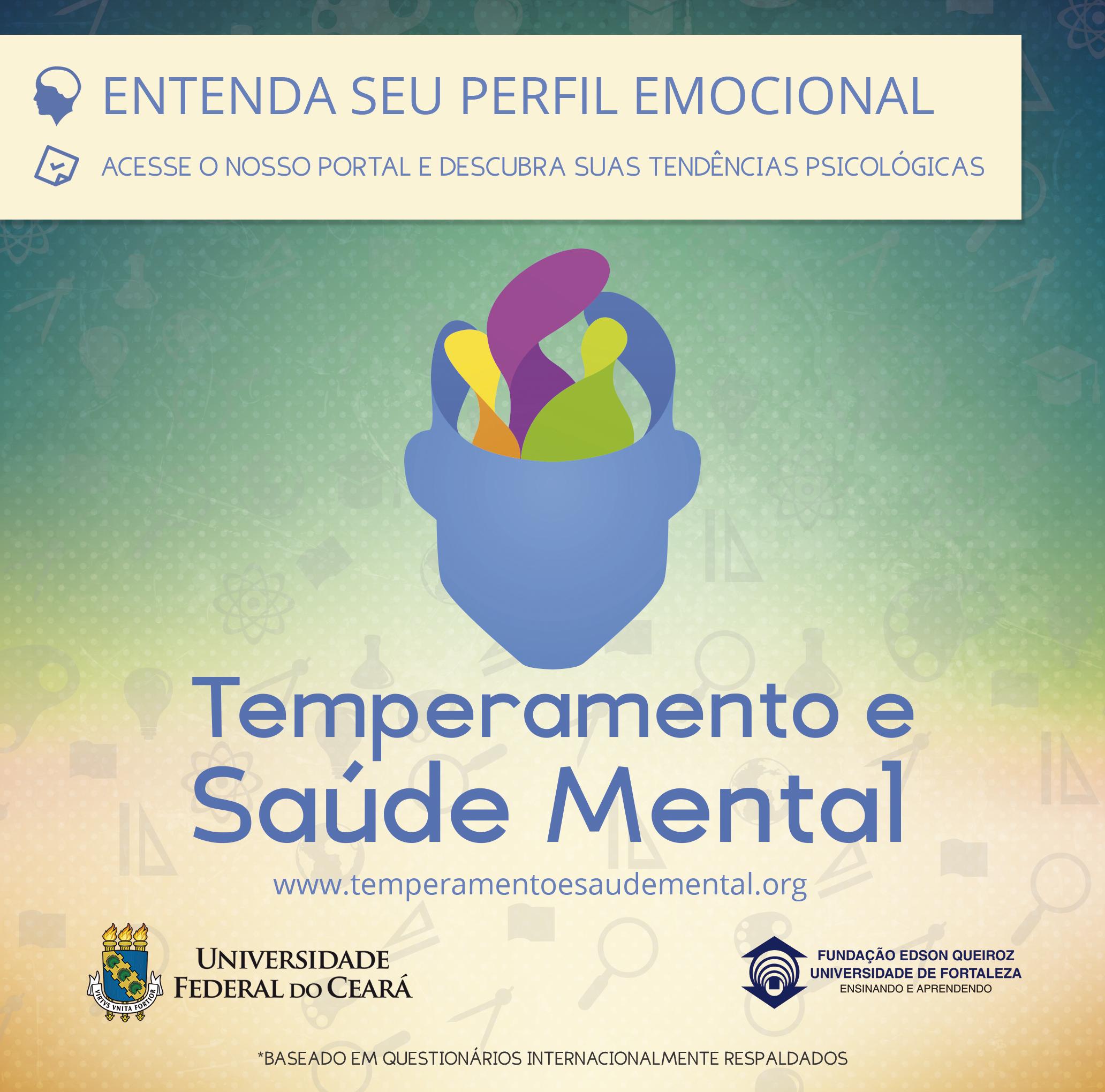 Peça publicitária para divulgação do Web App Temperamento e Saúde Mental, em parceria com a Universidade Federal do Ceará (UFC) e a Universidade de Fortaleza (UNIFOR)