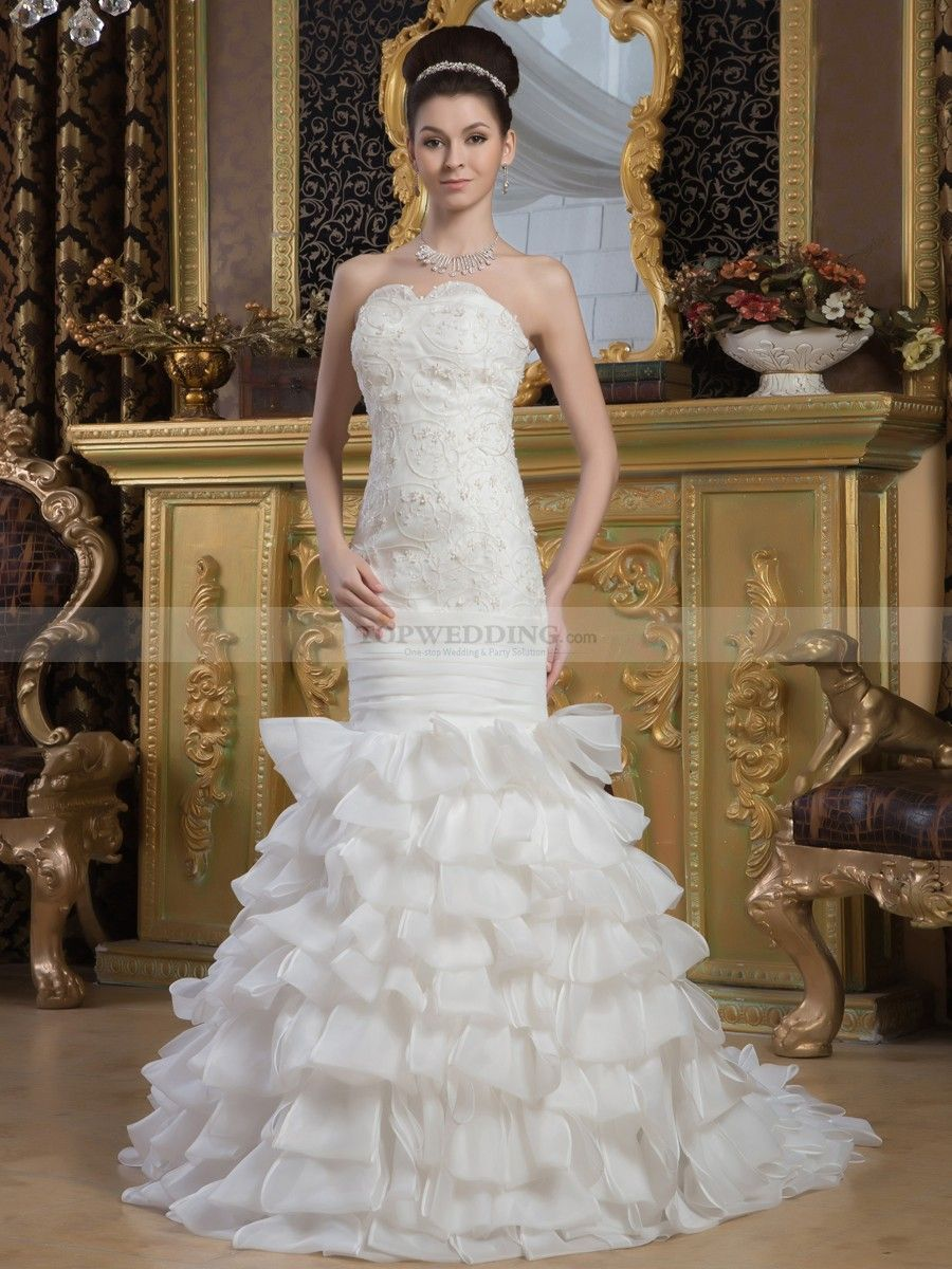 Strapless Mermaid Wedding Dress with Floral Top and Ruffled Skirt