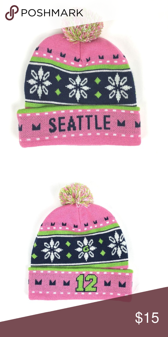 c1553a035 Seattle seahawks beanie holiday christmas hat Seattle seahawks womens  beanie hat holiday christmas pink 12 man