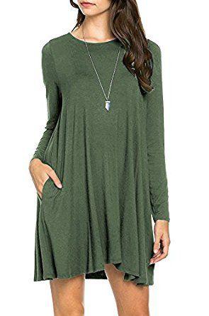 d8b8cfb2315c TINYHI Womens Casual Plain Long Sleeve Simple Tshirt Loose Dress TINYHI