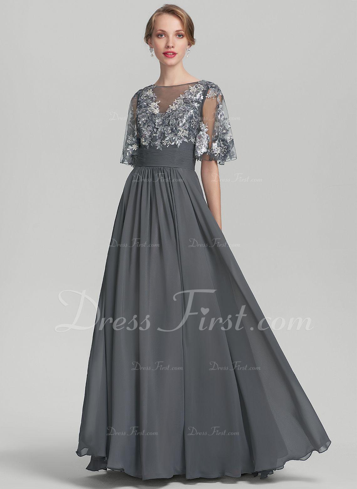 c0e7c28bc6f58 A Line Princess Scoop Floor Length Chiffon Mother Of The Bride Dress ...