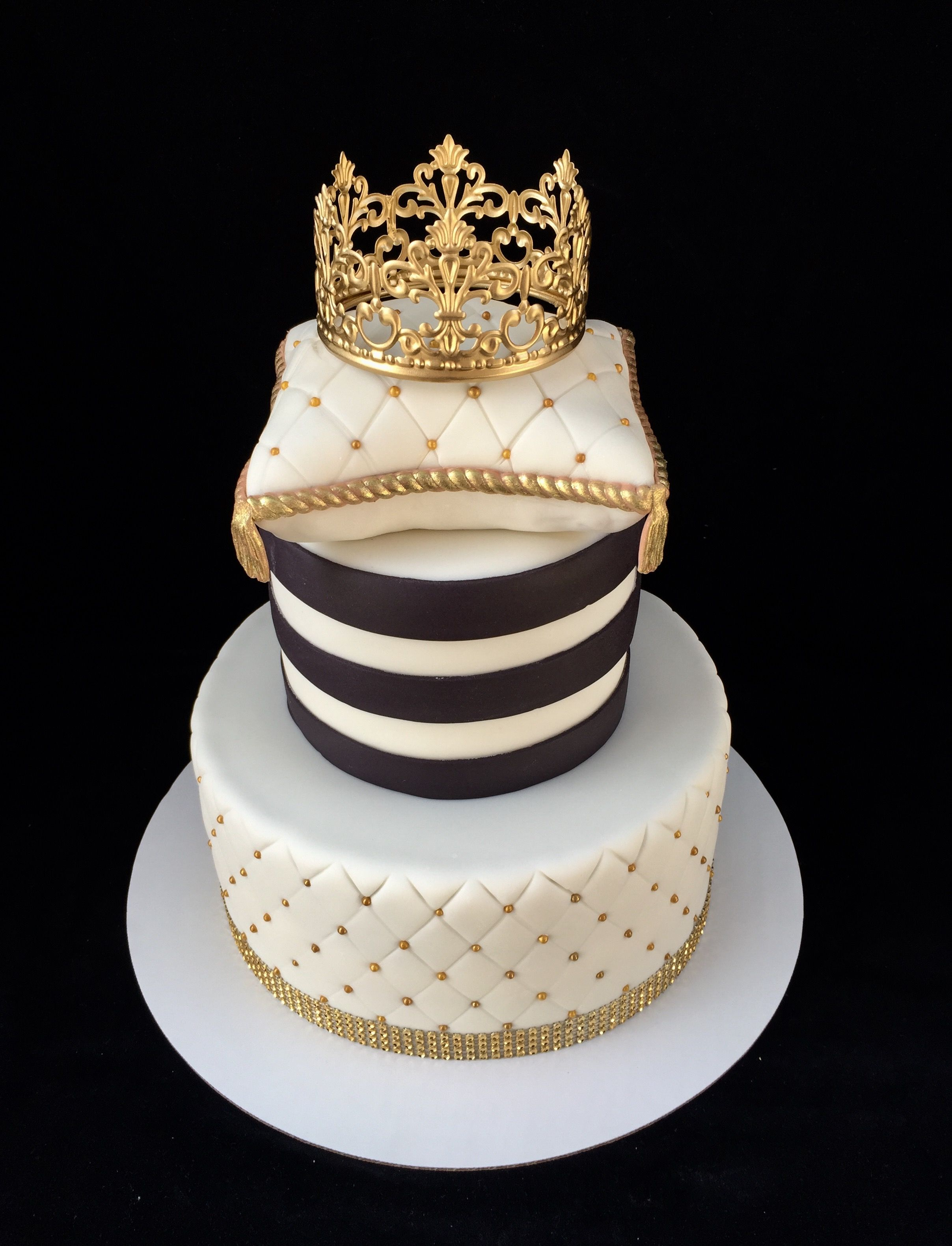 White Black And Gold Crown Cake