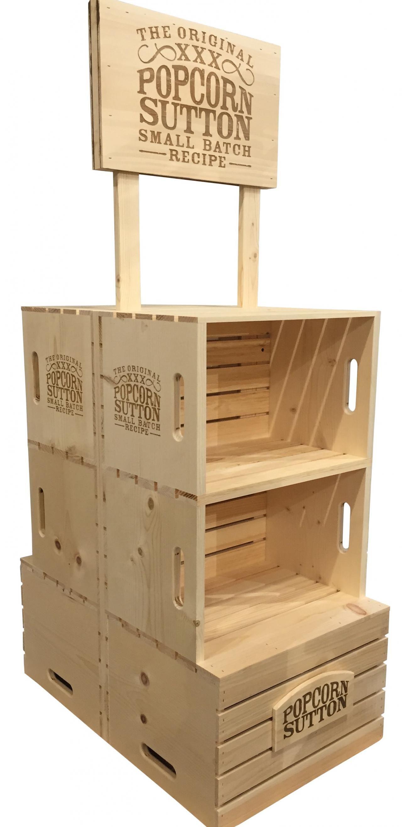 Double Sided Wood Crate Grocery Merchandiser Display With Branded