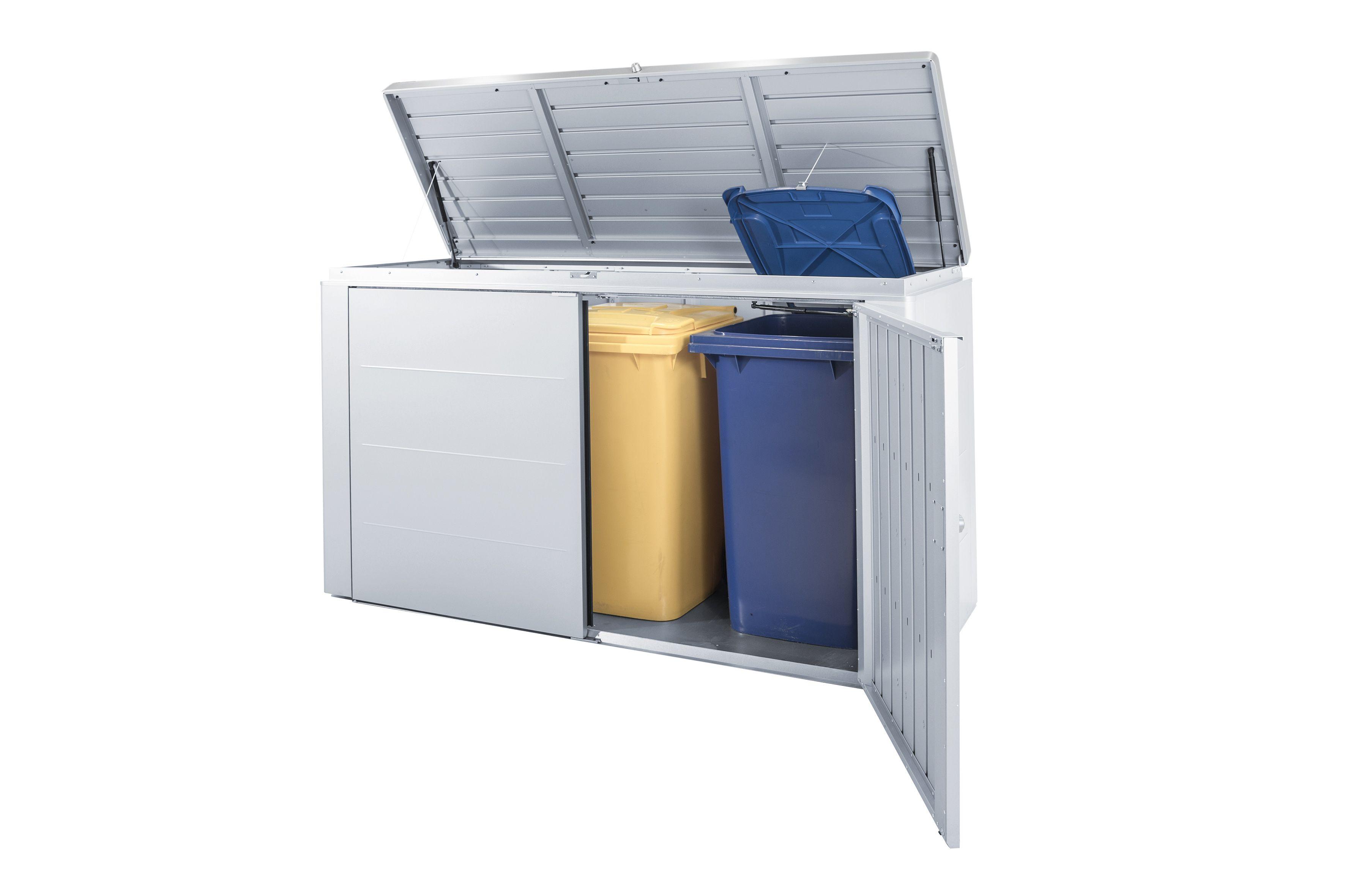 Mülltonnenbox: im HighBoard 200 können bis zu 3 Stk. 240l Mülltonnen untergebracht werden.