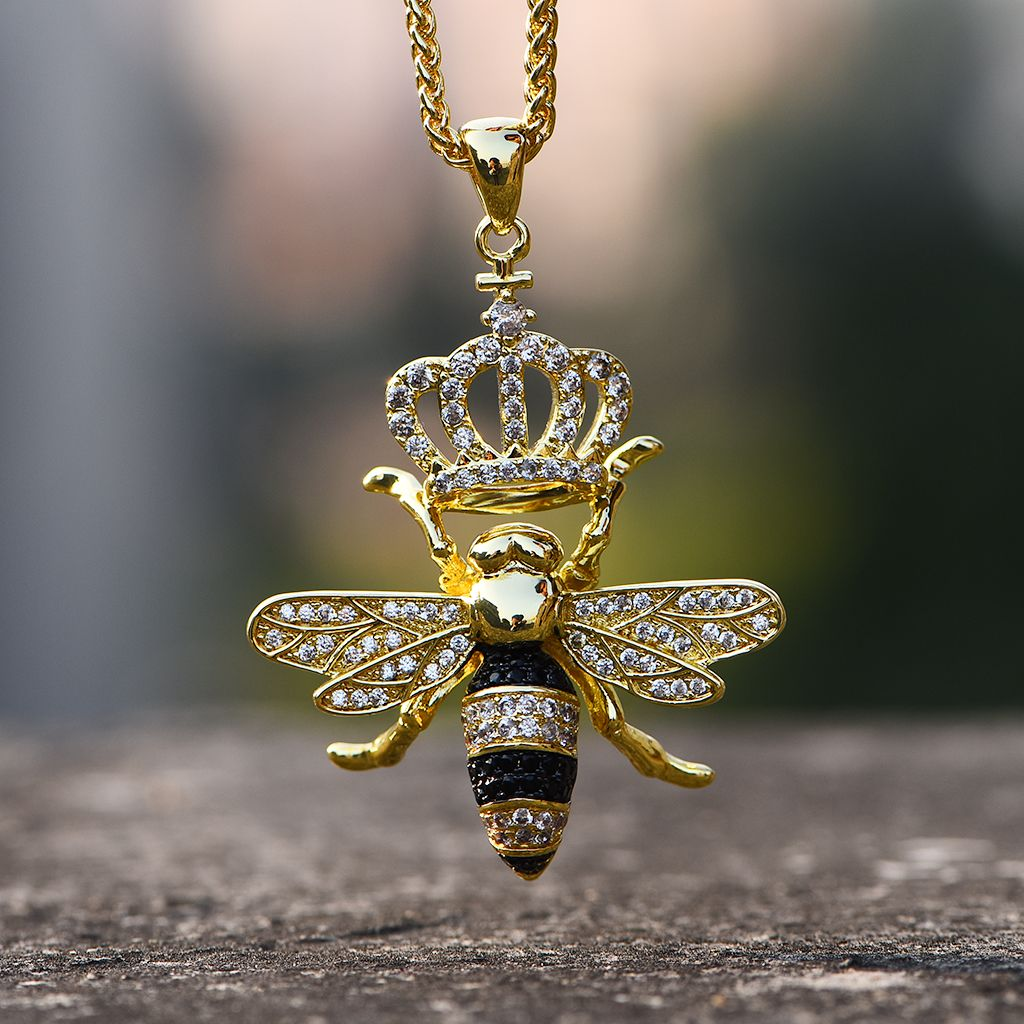 14k Gold Iced Out Queen Bee Necklace Aporro Queen Bee Necklace Bee Jewelry Bee Necklace