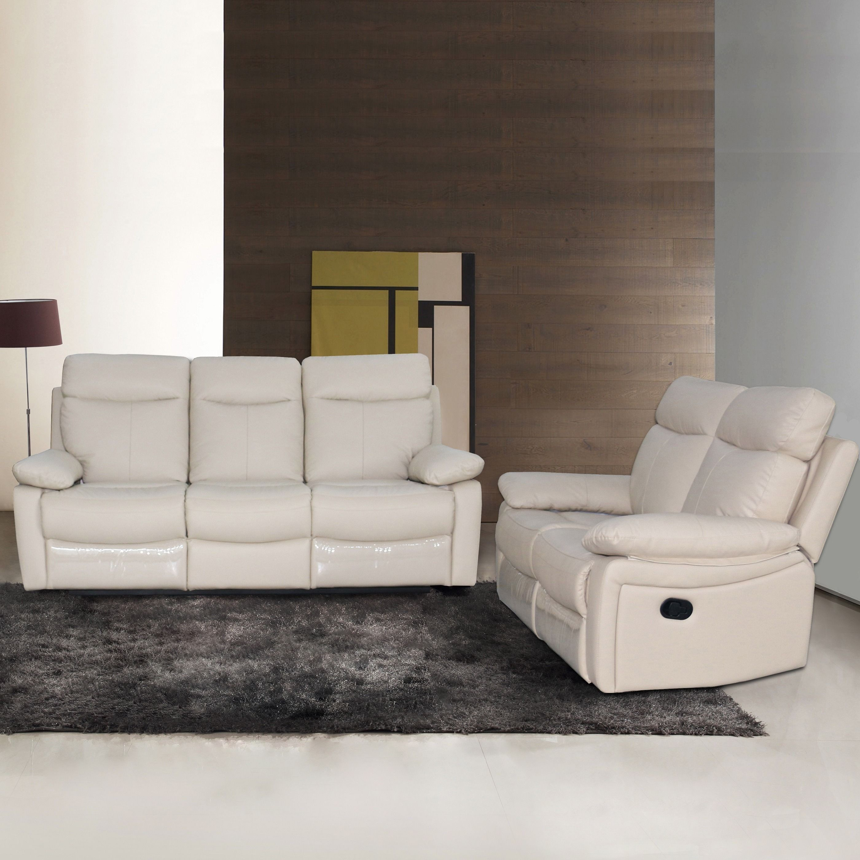AC Pacific Ryker Leather Reclining Sofa and Loveseat 2 piece Set