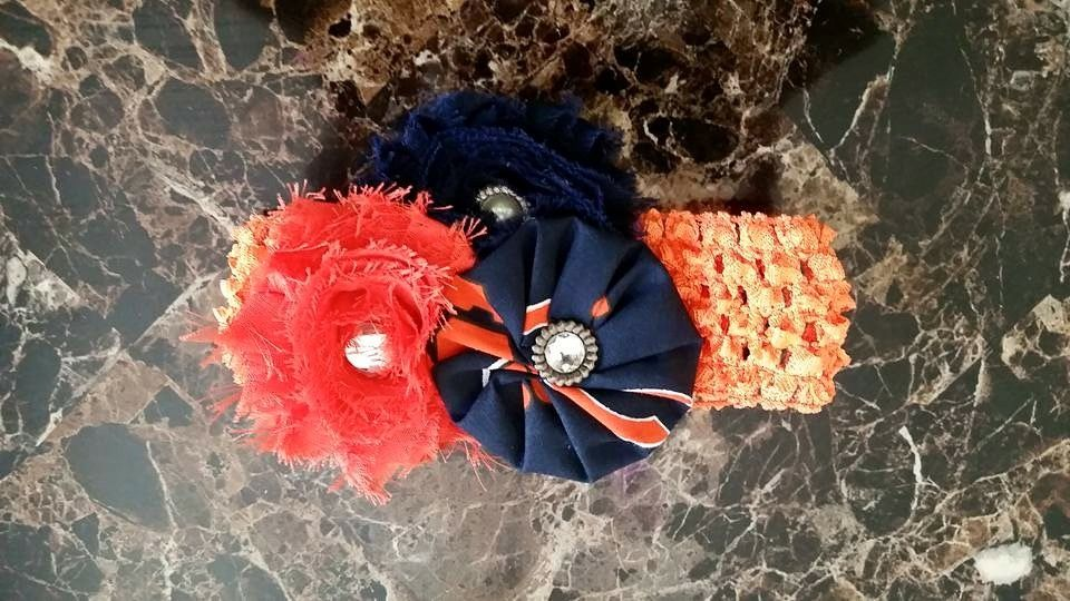 Chicago Bears Headband   One size fits all   Cheer on your team!!!   Join Kami's Bowtique on Facebook to see more!!  Price: $13.00....$15.00 to be shipped   Size: baby/adult          One size fits all