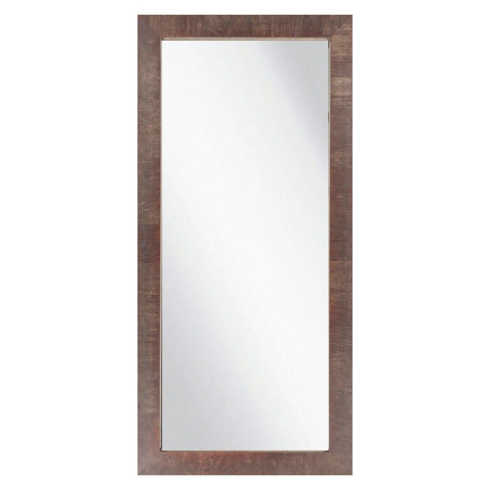 Rectangle chatwyn decorative wall mirror walnut brown surya