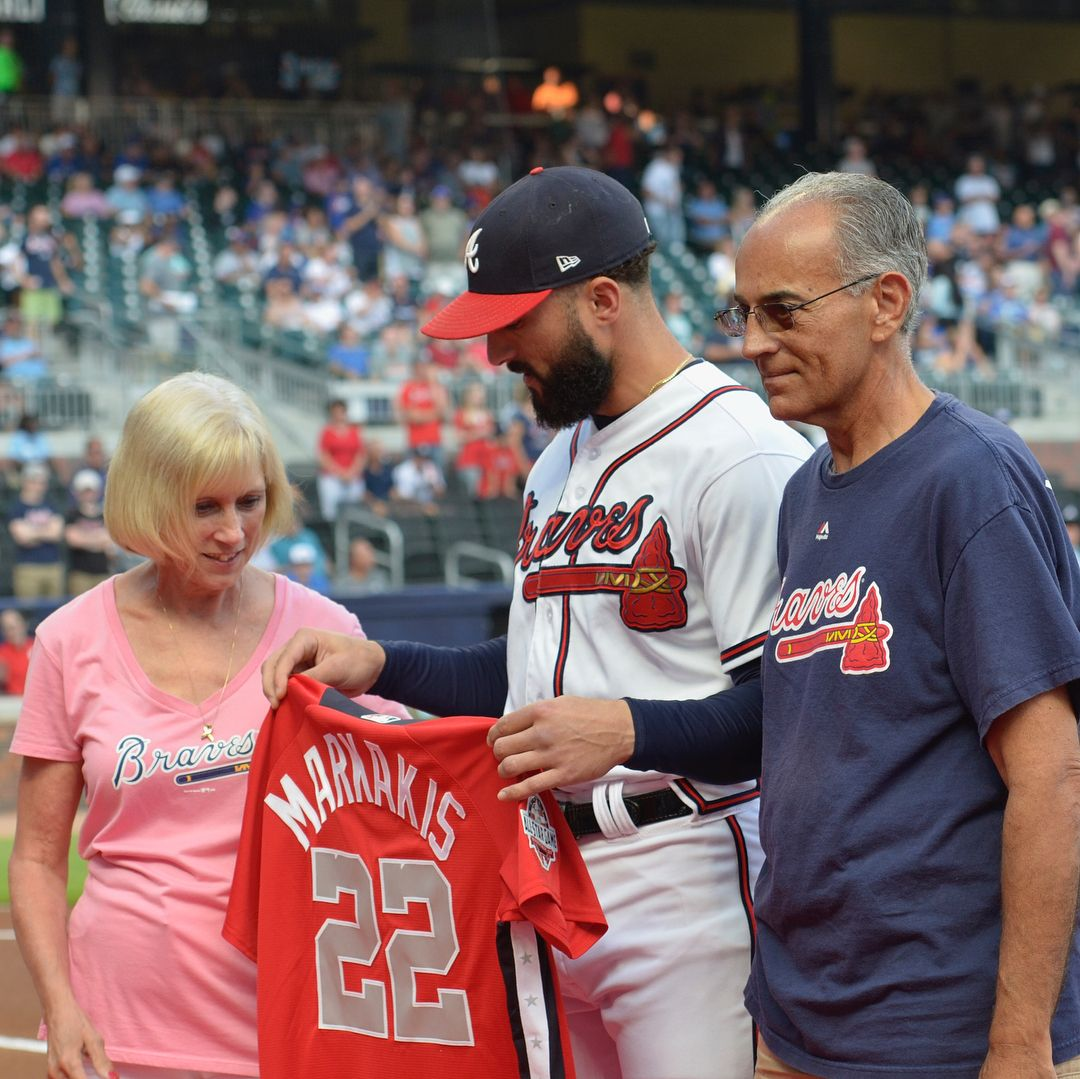 best service bbeca 3a963 Nick Markakis receives his first All-Star jersey from his ...