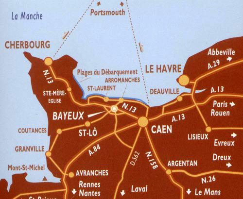 Location access map for the Chateau de Bellefontaine Bayeux Hotel