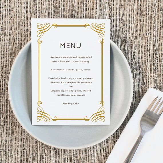 Printable Wedding Menu Template Instant Download Classic 5x7 For Word Or Pages Mac Pc Wedding Menu Template Printable Wedding Menu Menu Template