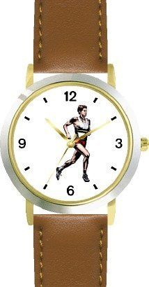 Man Runner No.3 Track & Field - WATCHBUDDY® DELUXE TWO-TONE THEME WATCH - Arabic Numbers - Brown Leather Strap-Children's Size-Small ( Boy's Size & Girl's Size ) WatchBuddy. $49.95