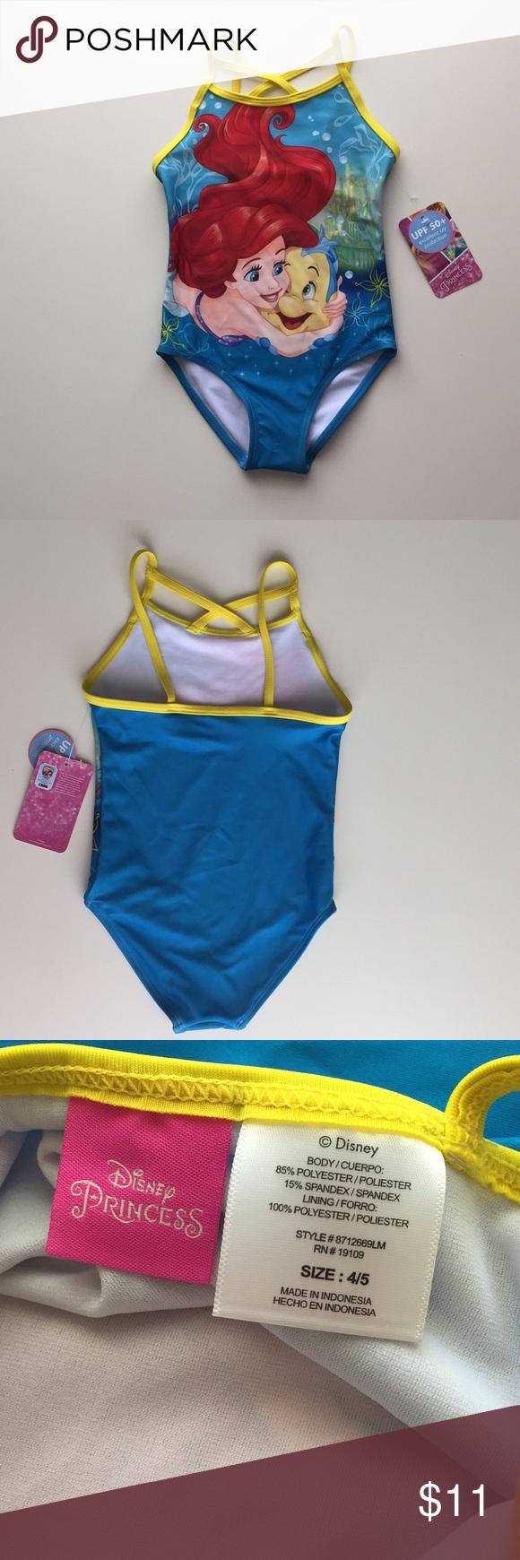 fdd6585e1e94f Disney little mermaid 4/5 kid swim suit Disney princess ariel size 4 ...