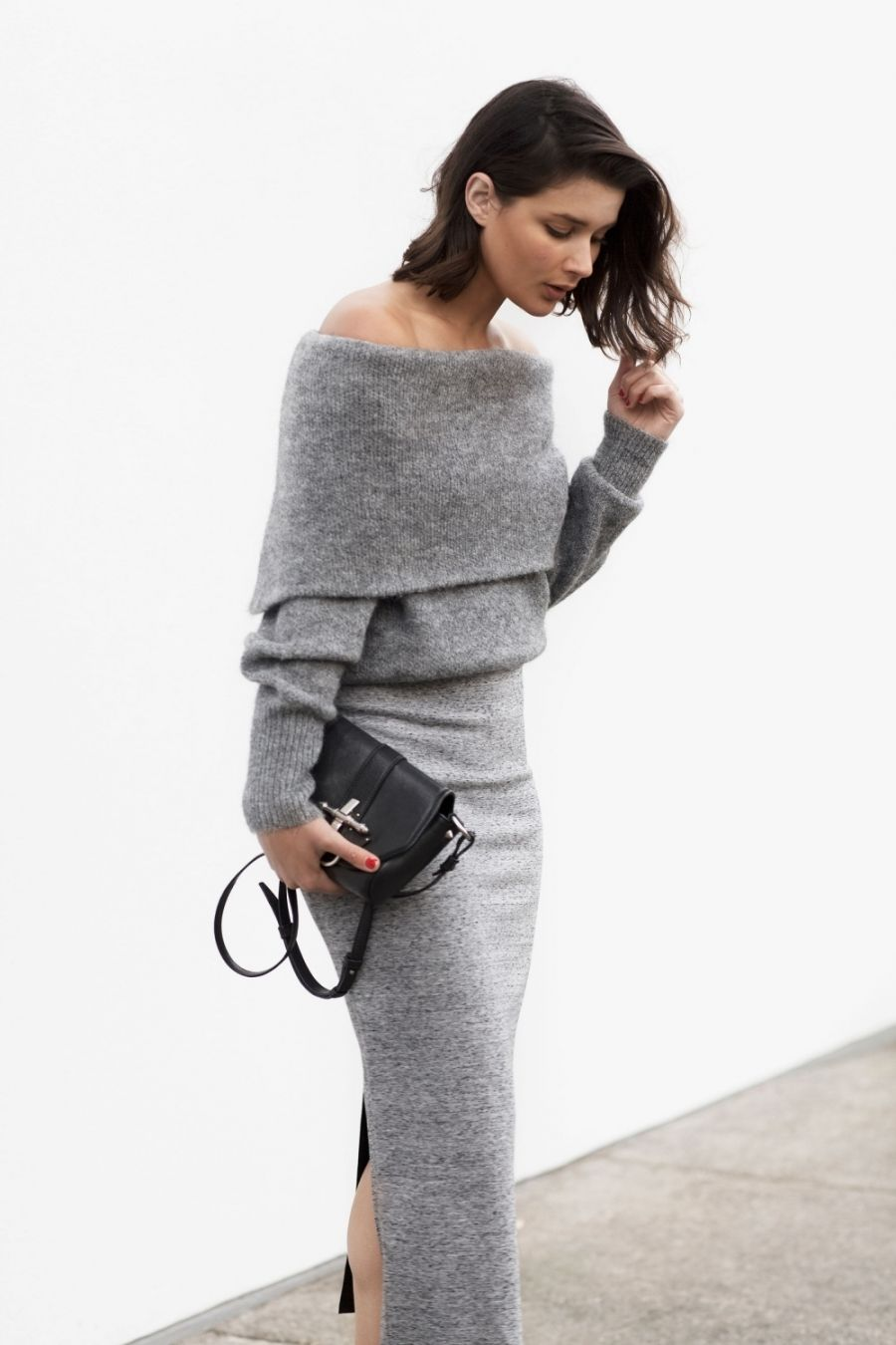 Grey Knit top & skirt. | Chic Style Type | Pinterest | Minimal chic ...