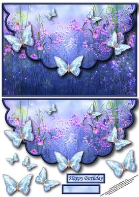 Butterfly fantasy envelope card with decouapge on Craftsuprint designed by Amanda McGee - A pretty envelope card featuring a fantasy butterfly scene with decoupage - Now available for download!