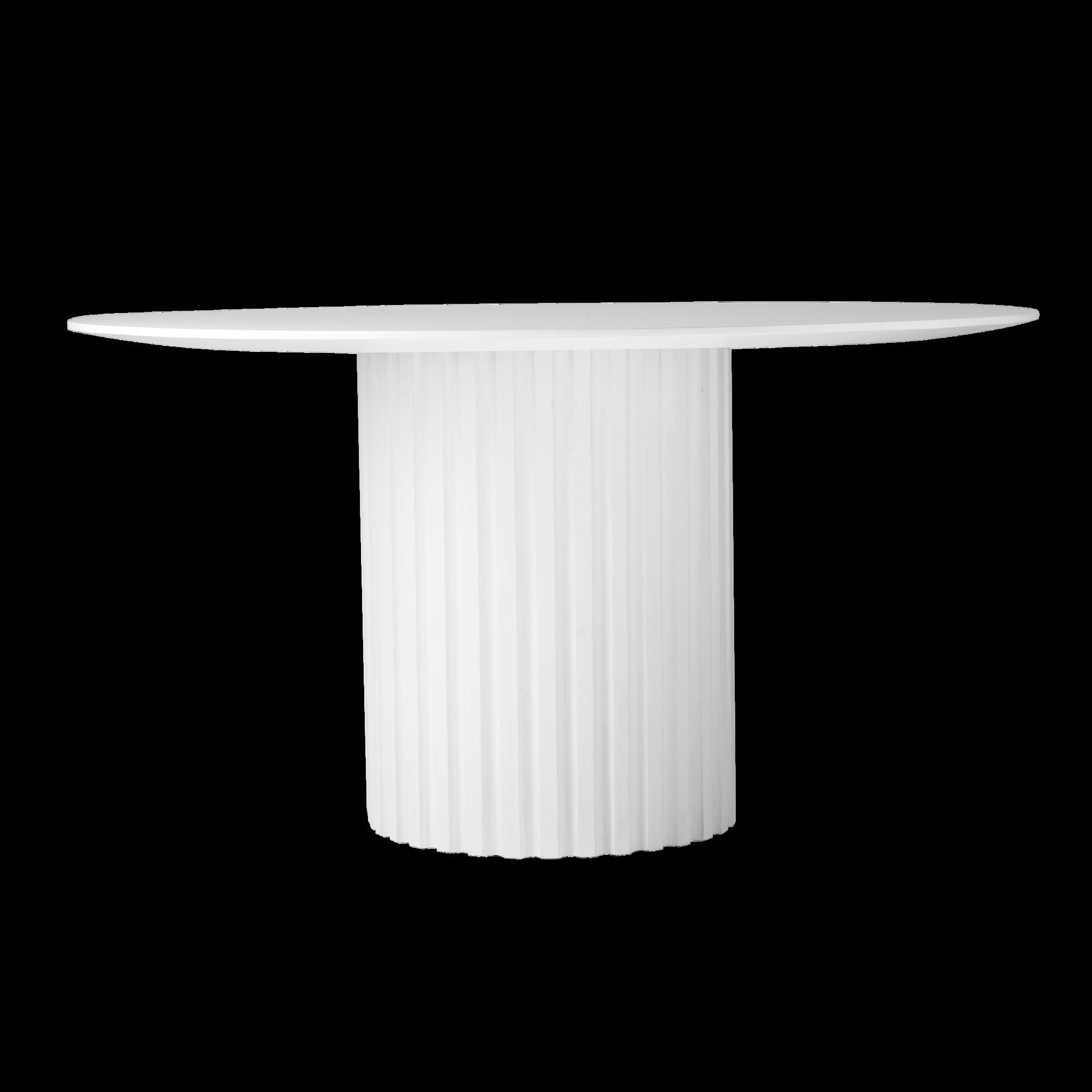 Esstisch Mit Weisser Saule Der Tisch Hat Eine Runde Form Hergestellt Aus Sungkai Holz Und Mdf Sie Kommen Runder Esstisch Saulen Esstisch Esstisch Rund Weiss