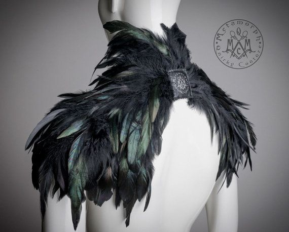 tribal feather shoulder pieces feather wings Tan feather shoulder epaulette