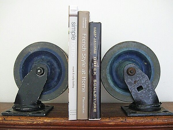 ramsdens home interiors caster wheels industrial bookends book ends 14667