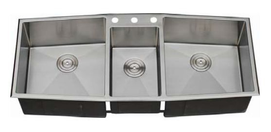 C-tech-i Diamante 33 Triple Bowl Undermount/Drop-in Kitchen Sink with  Soundproofing System and Mounting Hardware in Stainless Steel