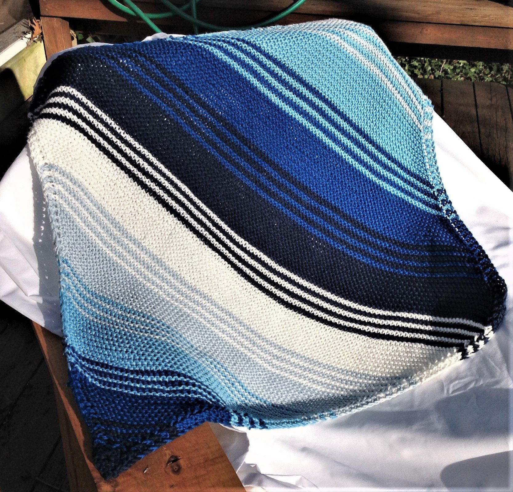 Baby Blanket Hand Knit Blue & White Striped Pima Cotton