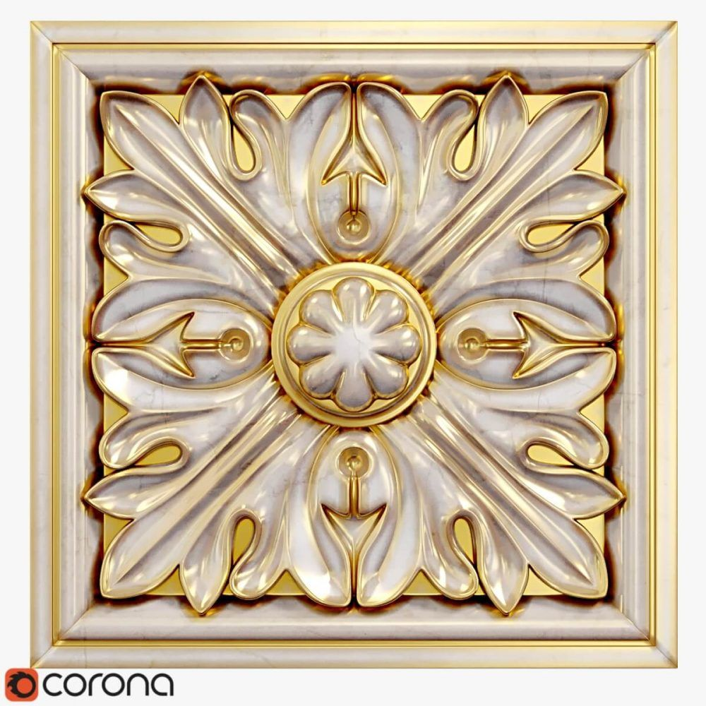 PU 310x440mm Grand Decor Dekor 1 Rosette Stuck Decke R171