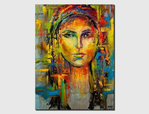 Colorful Woman Face - Embellished and ready-to-hang print - Wall art and modern prints on canvas by Osnat.  I embellish the print by adding few strokes of palette knife to enhance its vibrancy and look.  Title: Shine. Sides painted black.  All my paintings are coated with varnish to protect the