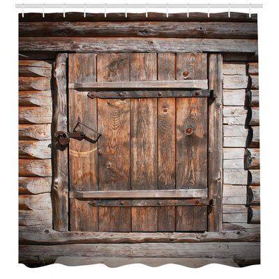 Photo of East Urban Home Vintage Rustic Wooden Door Single Shower Curtain | Wayfair