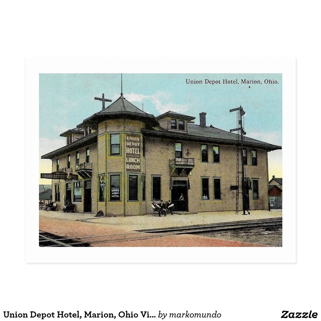 Union Depot Hotel Marion Ohio Vintage Postcard