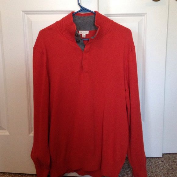 Gap men's sweater Gap men's sweater, burnt orange (looks red in the pictures but it is definitely orange) 4 buttons at top, size L. NWT GAP Sweaters