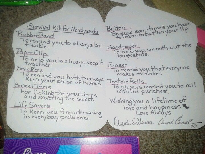 Best wedding gift ever :-) Survival kit for newlyweds. Rubberband ...