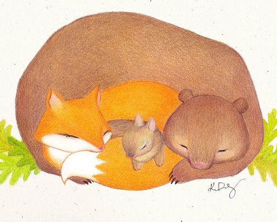 Original Woodland Bear Fox and Bunny Print by ABunnyandBear